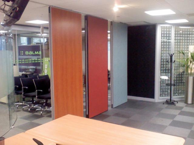 Acoustic movable wall Type 100 showing different colour finishes